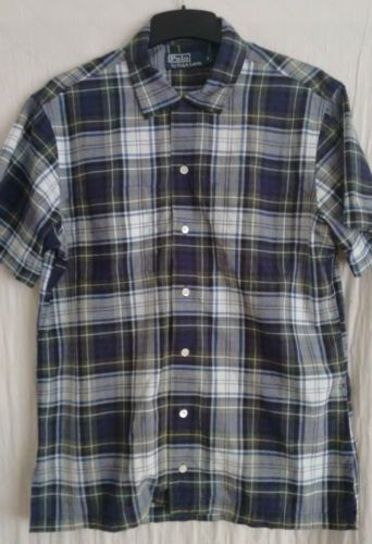 RALPH-LAUREN-POLO-mens-s-s-check-shirt-size-Small-blue-grey-green
