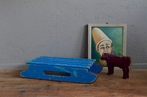 Luge enfant vintage rétro bleu patine traineau antic kid sledge années 40