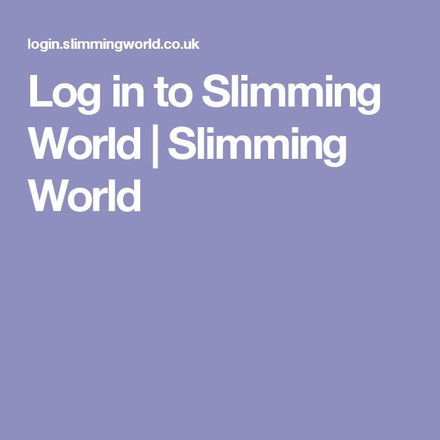 Log in to Slimming World | Slimming World