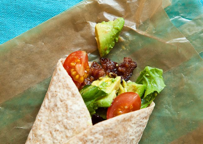 2. BLTA Wraps - Mash an avocado with lemon juice, then spread on a whole wheat wrap. Top with crumbled bacon, chopped tomatoes, and thinly sliced romaine lettuce. Roll up and wrap in parchment or wax paper to secure. (Replace bacon with turkey)