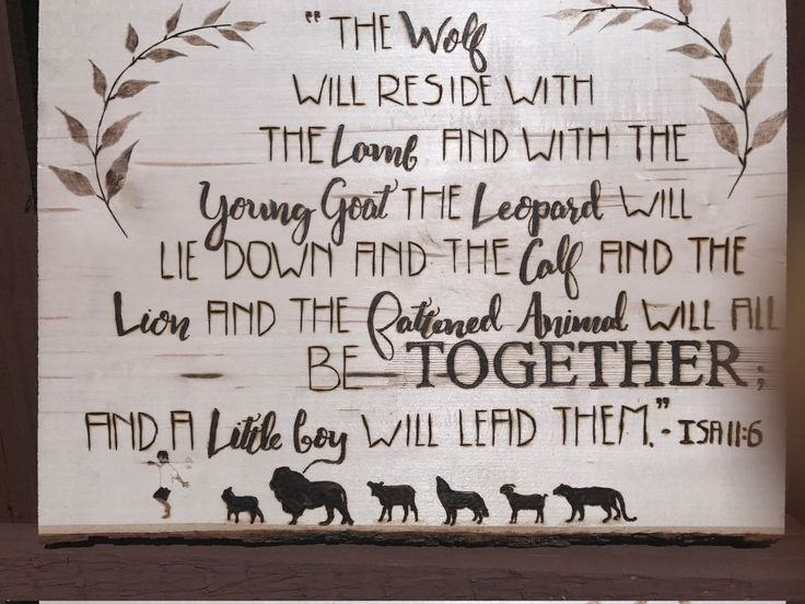 This is a Wood Burned piece that draws attention to the wonderful words of restoration found at Isaiah 11:6. www.etsy.com/listing/544809235