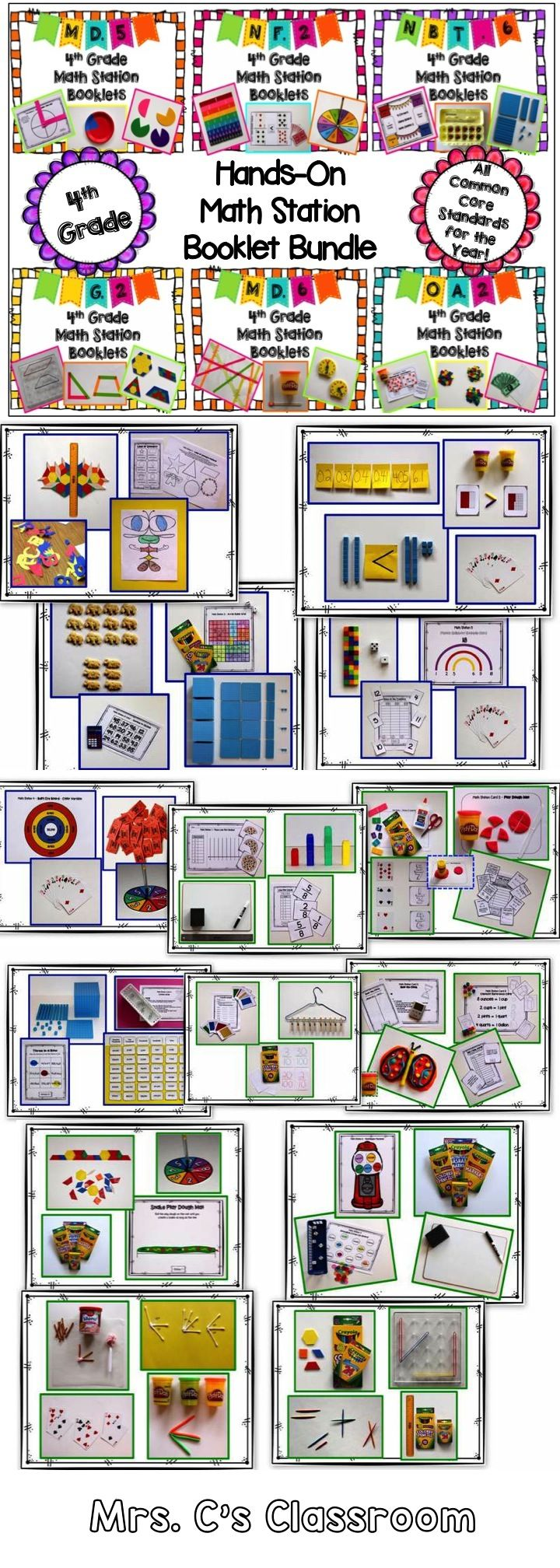Discounted Price.  This 4th grade yearlong hands-on math station booklet bundle contains 900 pages! There are 28 booklets, plus resources, for ALL the common core math standards.