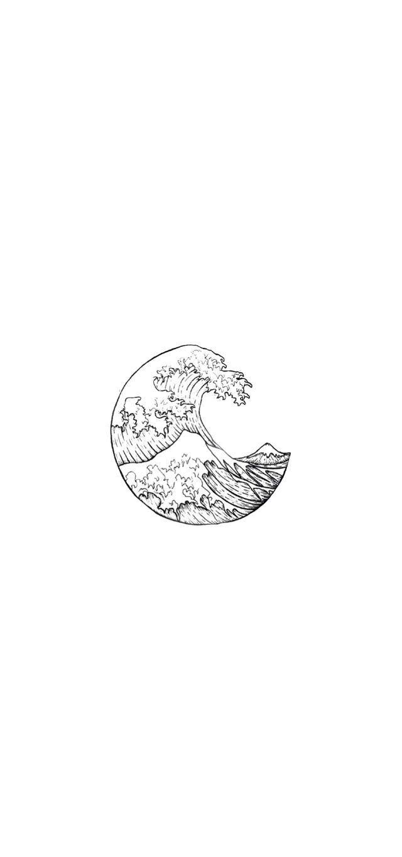 Sea Waves Wallpaper Minimalist Wallpaper Black And White Wallpaper