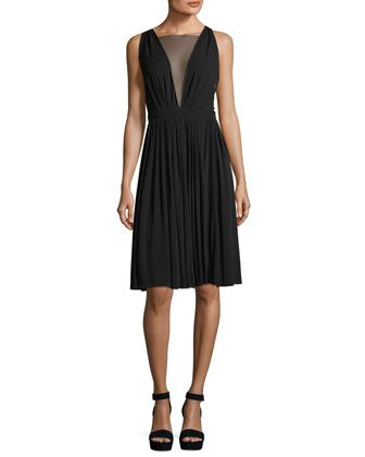 Sheer-V+Sleeveless+Tea-Length+Cocktail+Dress+by+No.+21+at+Neiman+Marcus.