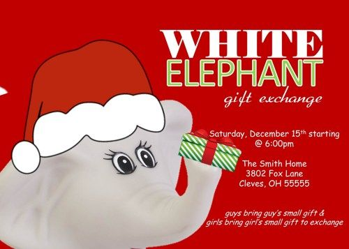 Image result for white elephant christmas party invitations