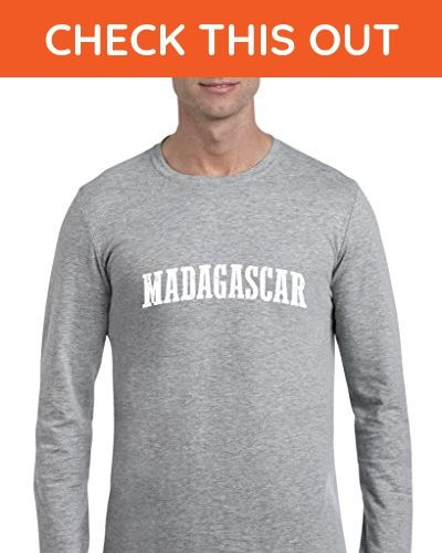 Ugo What to do in Madagascar? Travel Time Flag Map Guide Flights Top 10 Things To Do Softsyle Long Sleeve Men's T-Shirt Tee - Cities countries flags shirts (*Amazon Partner-Link)