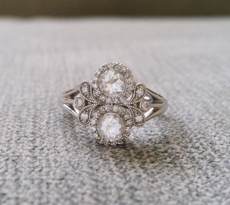 Antique White Sapphire And Diamond Halo Bohemian Engagement Ring Nature 14K  White Gold Flower Art Deco