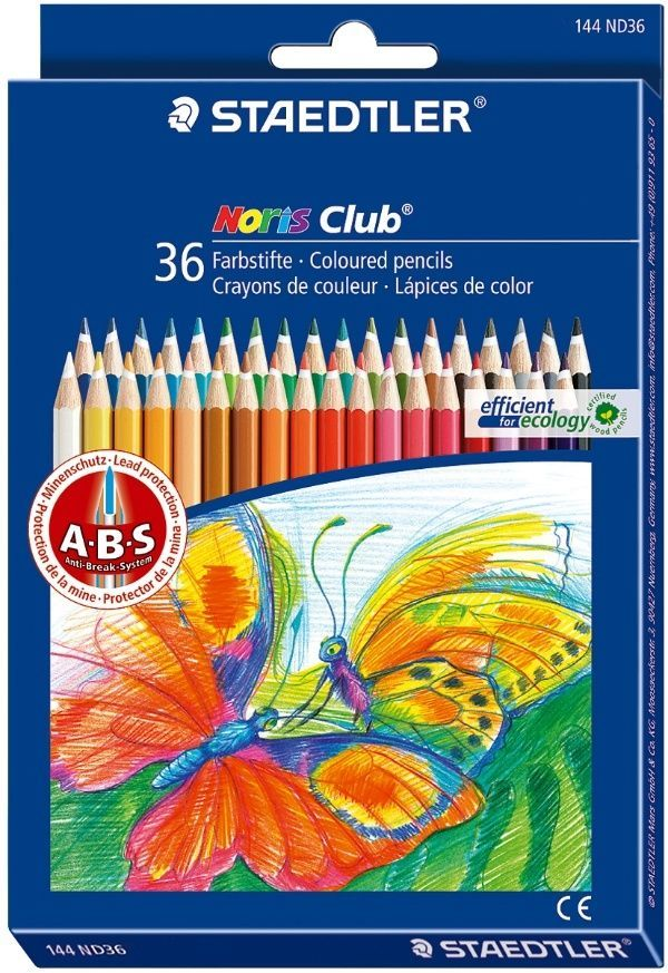 Staedtler Noris Club Coloured Pencil 36 Colors 144 ND36 Drawing Sketching Artist #Staedtler