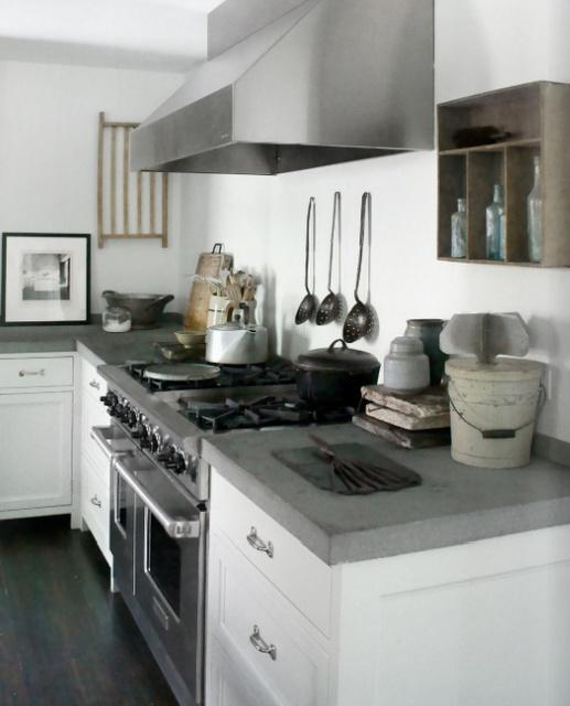 white cabinet, thick concrete counters