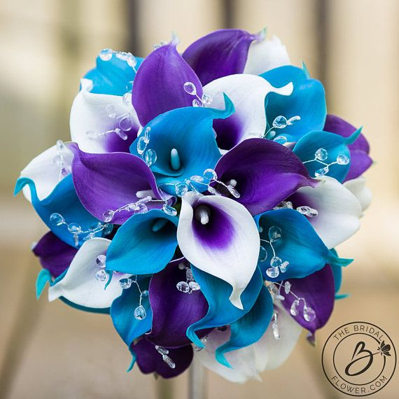 Malibu blue wedding bouquet, calla lily bridal bouquet, turquoise wedding bouquet, royal purple bouquet, bouquet with crystals, real touch