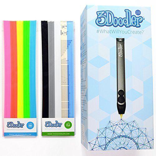 3Doodler 2.0 FOUR PIECE BUNDLE: 3doodler 2.0 3d Printing Pen + 75 Strands of 3Doodler Plastic Filament (25 PLA + 25 ABS + 25 Glow in… #deals