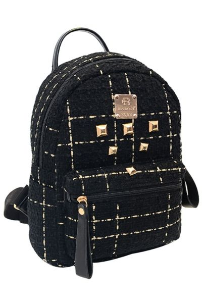 Fashion #Gold Stud #Black Canvas #Backpack - OASAP.com `•.❤ FREE SHIPPING + 2014 Christmas Holiday Deals From $3.9, Ship Within 24 Hours!