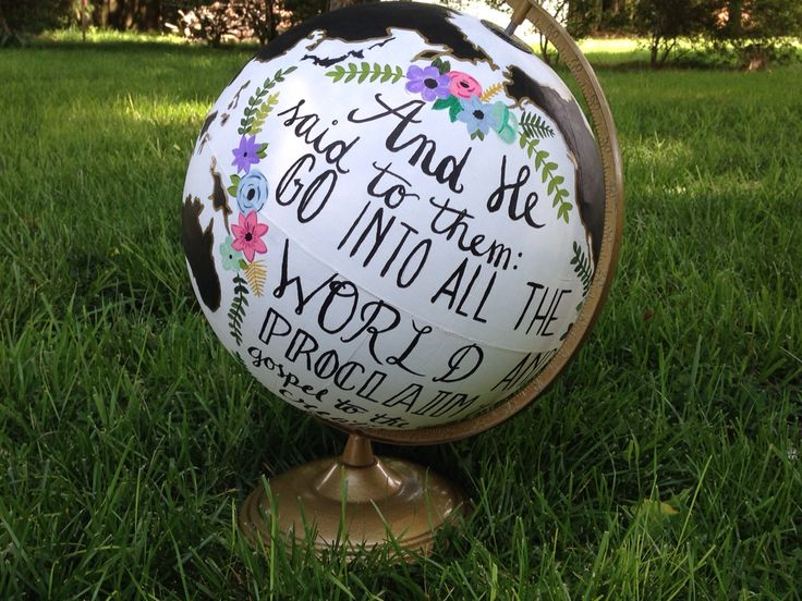 Hand painted black white and gold mark 16:15 globe      I actually painted this