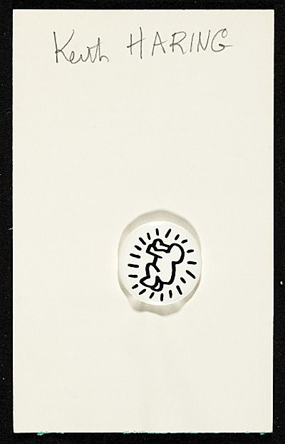 Citation: Keith Haring button, ca. 1986. Ellen Hulda Johnson papers, Archives of American Art, Smithsonian Institution.