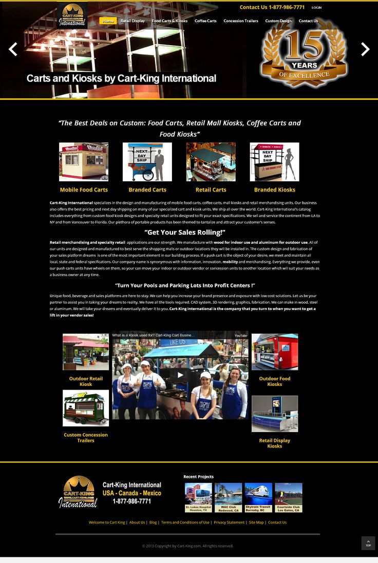 Cart-King International provides Coffee Carts, Mobile Food Carts & Retail Mall Kiosks for Sale. You can purchase various best quality Mobile Food Service Cart Products in USA, Canada, Central and South America.