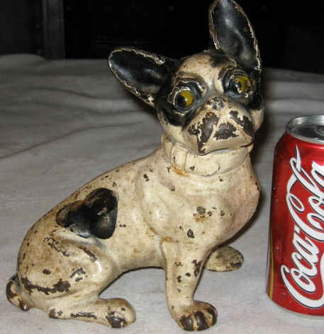 Antique Cast Iron Hubley French Bull Dog Home Garden