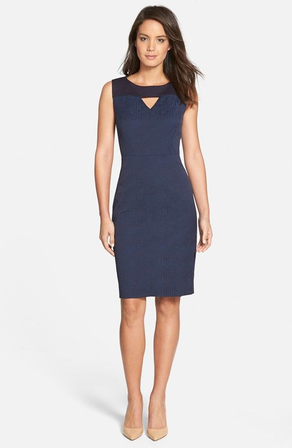 'Nikita' Mixed Media Jacquard Sheath Dress (Regular & Petite)