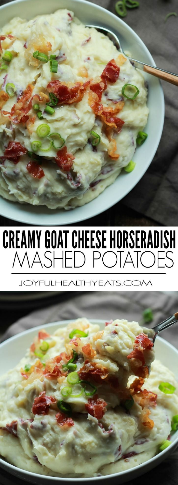 ... boring potatoes! Creamy Goat Cheese Horseradish Mashed Potatoes