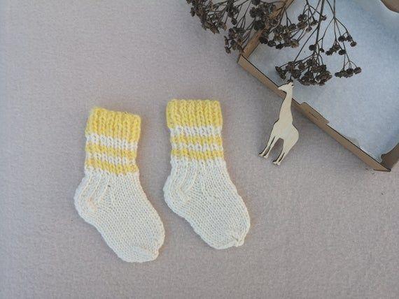 Knitting White Yellow Baby Socks In 2020 Baby Socks Baby Yellow Knitting