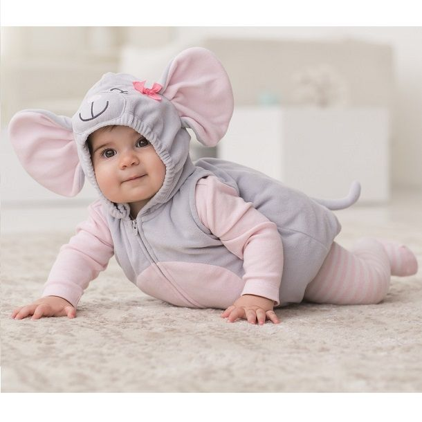 Dress baby's first Halloween in a cozy fleece mouse bubble costume from Carter's with matching cotton tee. Complete the look with striped tights. #CartersHalloween