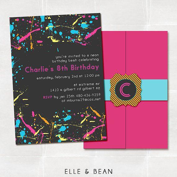 Neon Graffiti Birthday Party Invitation by elleandbean on Etsy, $15.00: