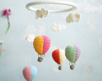 Baby Elephant Mobile Crochet Mobile Baby Girl Crib by LalaKa