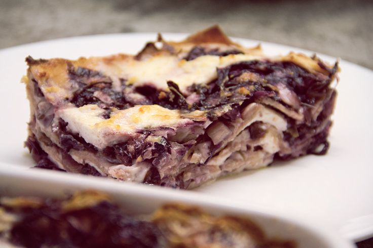 Spelt #Lasagne with red chicory