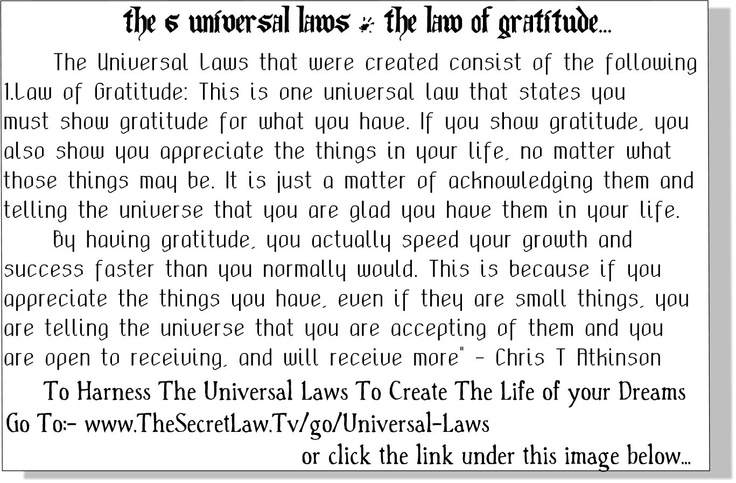 2. {Snippet The Universal Laws - Law of Gratitude} - From The Life Changing Universal Laws of Attraction Principles Revealed Audio Report which you can access at the live link attached here..