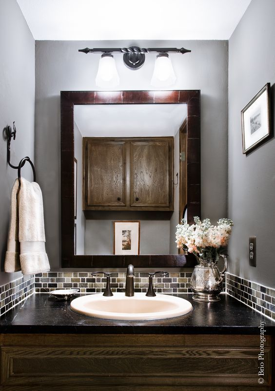 Image Of Best Small powder rooms ideas on Pinterest Powder room mirrors Small baths and Small style baths