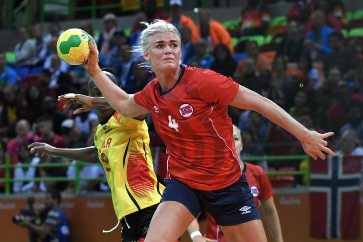 Norway beat Angola in a handball prelim.  This is Norway's Veronica Kristiansen making a leaping shot during a group stage match on Wednesday.  Fun fact: Handball, along with basketball, boxing and indoor volleyball runs the entire 16-day duration of the Games - Rio Olympics Day 5 Aug 10 2016 highlights Norway handball
