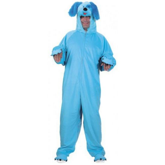 Blauw honden kostuum voor volwassenen. Honden kostuum bestaande uit een lang pak met capuchon en een rits aan de voorzijde. Dit kostuum is one size.