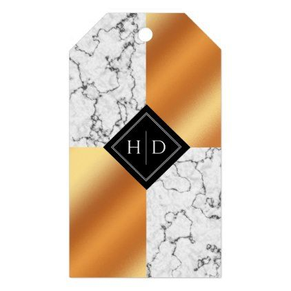 Elegant White Black Marble and Copper Foil Wedding Gift Tags - pattern sample design template diy cyo customize