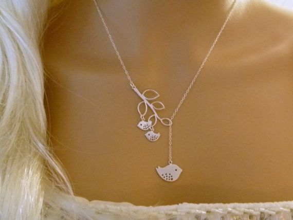 Mommy and Two Baby Birds Necklace - Mother and Child - Mom Necklace - Branch Lariat - Silver - Mommy Necklace - femmart