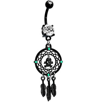 Crystalline Gem Black Skull Dreamcatcher Belly Ring $12.99 #bodycandy #dreamcatcher #bellyring