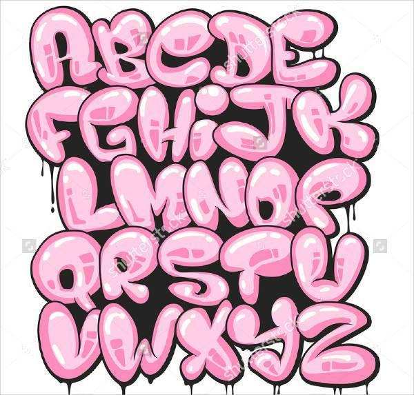 Bubble Letter Graffiti Alphabet | Lettering | Graffiti