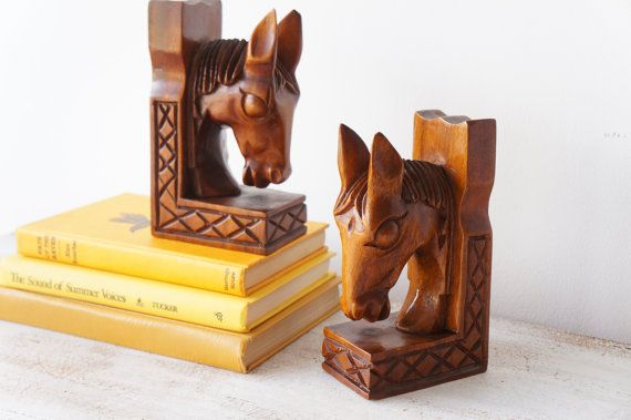 Vintage Wood Horse Bookends Mid Century Carved Wood by RedHillHome, $27.00