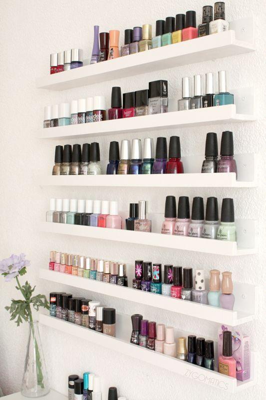 Nail polish storage using Ikea RIBBA shelves.