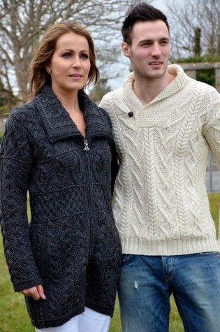 Men's one button aran sweater
