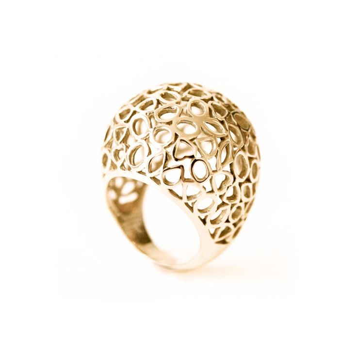 Modern rings: The 1001 nights ring from our jewelry collection is a big, cutaway globe ring made out of 14-karat gold. Available in yellow, white, and rose gold. Design by Bertie Hamers for bofb.