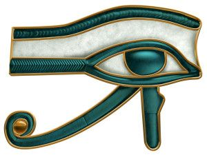 Udjat, Wedjat: Designed to resemble the eye of a falcon, this symbol is called the Eye of Ra or Eye of Horus represents the right eye of the Egyptian Falcon God Horus. As the udjat, it represented the sun, and was associated with the Sun God Ra (Re). The mirror image, or left eye, represented the moon, and the God Tehuti (Thoth).