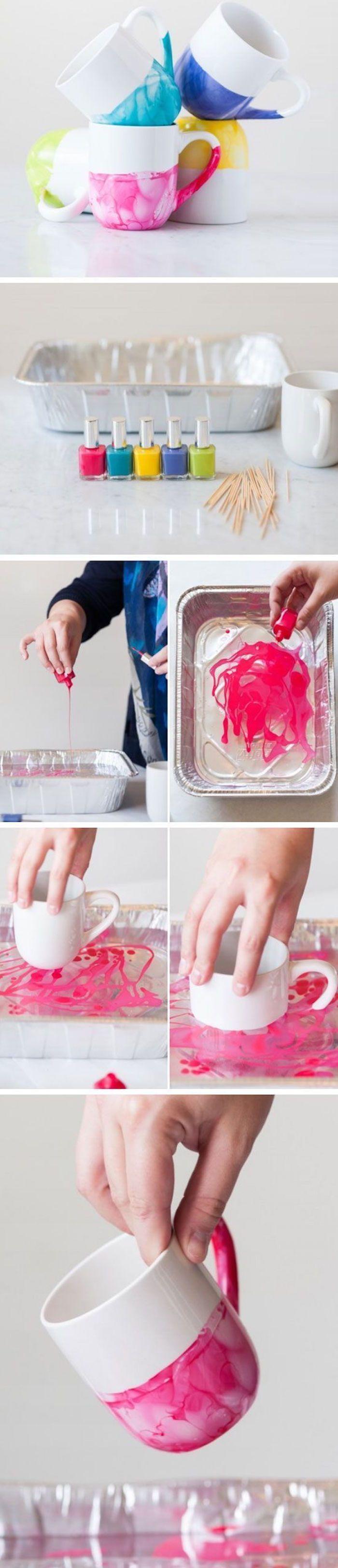 Kreative Idee, DIY, Tassen mit Nagellack bemalen