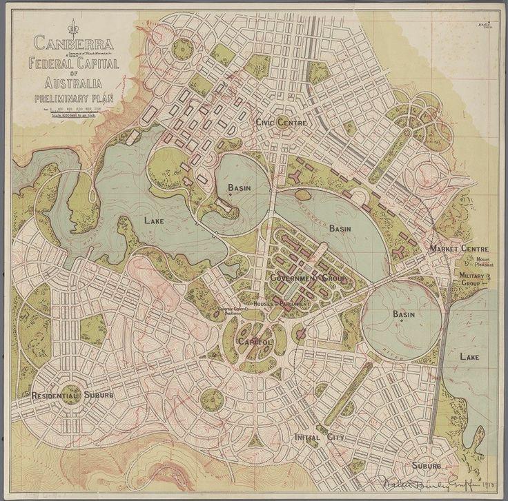 Walter Burley Griffin preliminary plan 1913