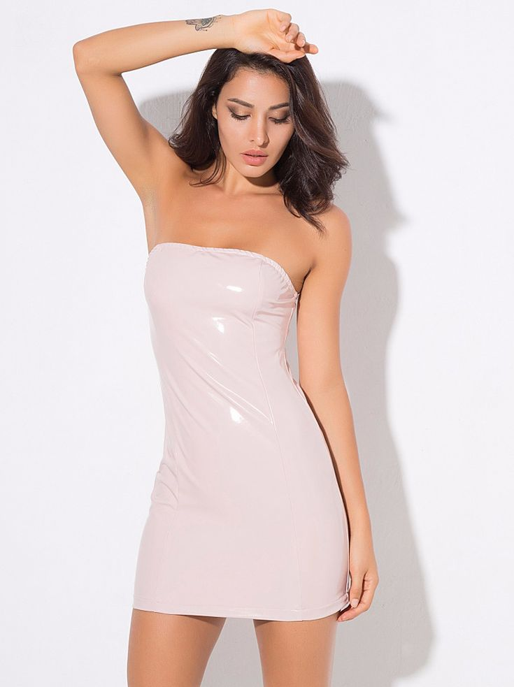 Pink Tube Top Artificial Leather Party Mini Dress
