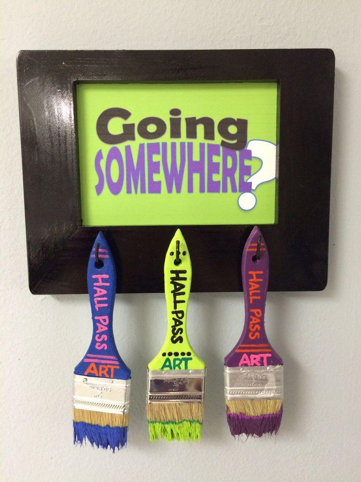 Classroom-Decorating-Ideas-Crafts-Unleashed-13 Art room Hall Pass DIY Paintbrush Hall Pass Sign