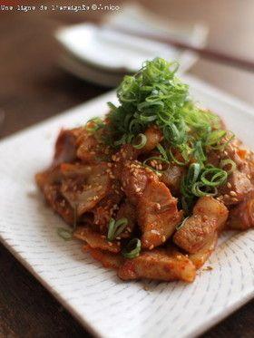 焼き肉のたれが隠し味・ゴロゴロ豚キムチ。