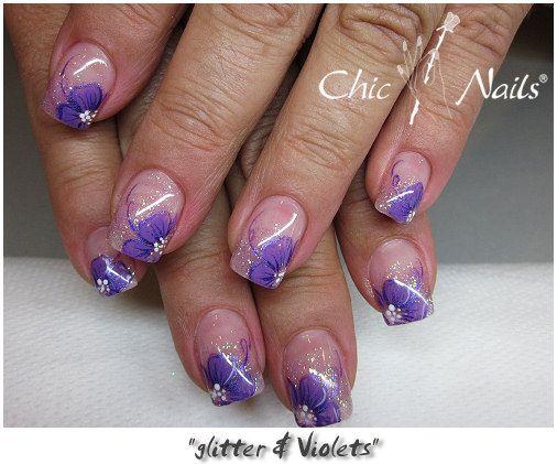 nail art | nail art glitter ottani e french look punta bianca disegno realizzato ...
