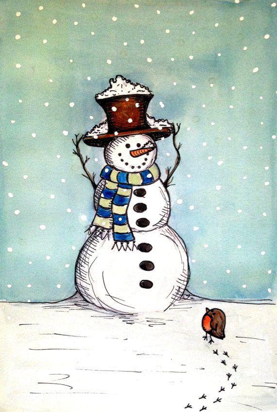 Snowman Christmas Card от MandaLouiseArt на Etsy