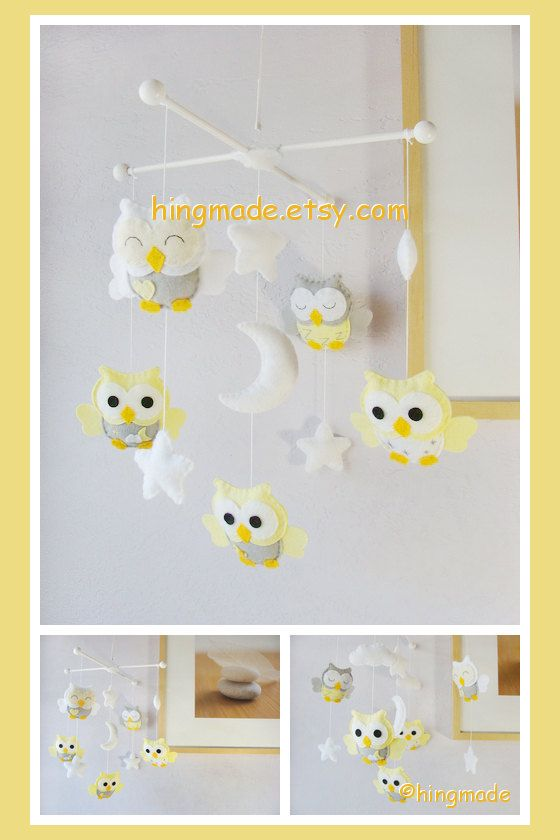 Baby Mobile - Owl Mobile - Nursery Mobile - Crib Mobile - Light Yellow Gray White Soft Owls in moon stars clouds -------- SHIPS in 10 weeks