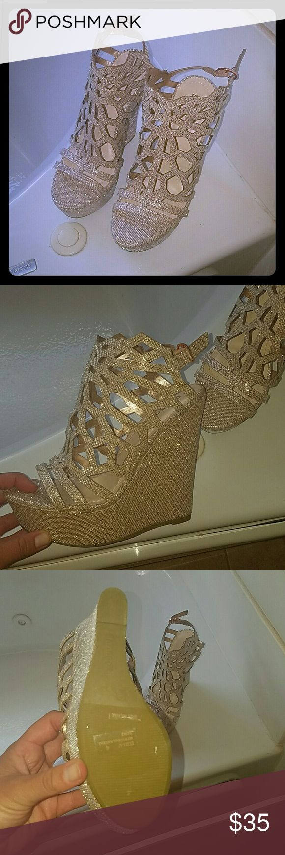 Brand New Gold wedges! Never worn gold glitter wedges!  They are a half size too small for me ?? but absolutely love them! Shoes Wedges