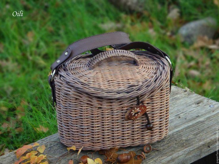 """Купить сумочка - сундучок плетеная """"Мишель"""" - коричневый, сумка ручной работы, сумка-саквояж"""